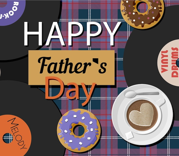 A postcard with vinyl records and doughnuts for father s day