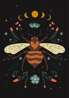 Postcard with wasp, moon phases and flora elements. vector graphics.