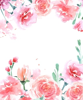 A postcard with watercolor roses vector illustration