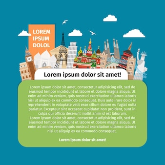 Postcard with world landmarks. design tourism, building architecture, famous monument.