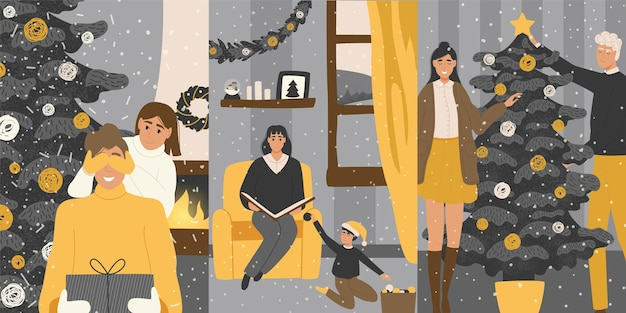 家族と一緒に新年とクリスマスのポストカード