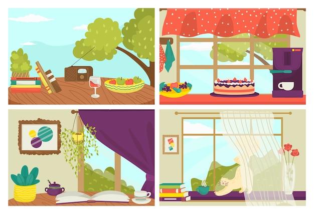 Открытки набор иллюстраций. шаблоны натюрмортных карточек, летние почтовые открытки с милой кошкой на подоконнике, книги и коллекция тортов. стиль для поздравительной печати, украшения.