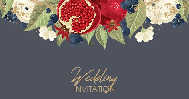 Postcards with pomegranate and leaves