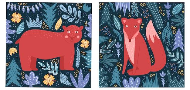 만화 스타일의 야생 동물과 엽서.