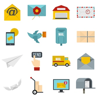 Poste service icons set in flat style