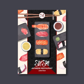 Poster for advertisement of sushi restaurant.