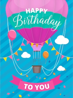 Poster air balloons. birthday party invitation placard with colored air ballon with basket placard
