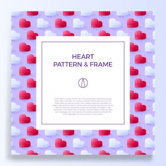 Poster, banner or card with title and text template, decorated with colorful hearts frame