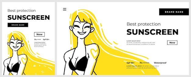 Poster and banner or landing page template for sunscreen protection sun care cosmetics