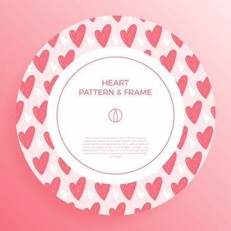 사랑 손으로 포스터, 배너 또는 카드 프레임 테두리 유행 색 하트 패턴을 그립니다.