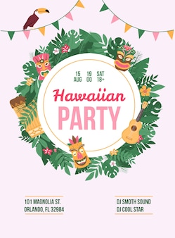 Poster or banner with advertising a summer hawaiian dance party, artists participants, address, date and time. an age restricted party.