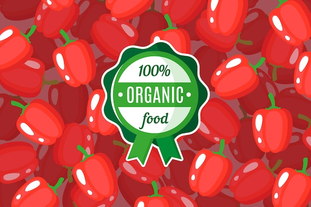 Poster or banner with illustration of red bell pepper background and round green organic food label