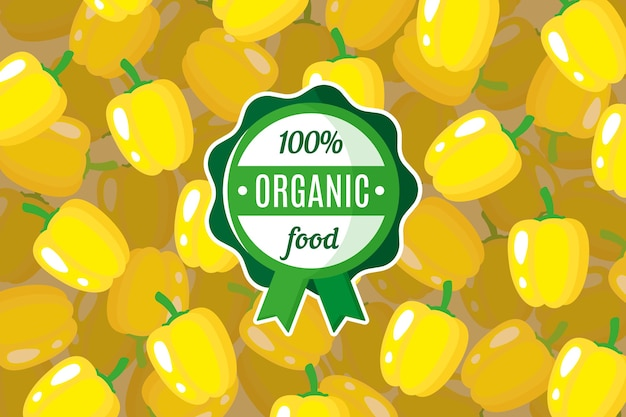 Poster or banner with illustration of yellow bell pepper background and round green organic food label