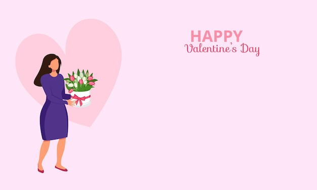 Poster or banner with a woman holding flowers with a heart and the inscription happy valentine day a...