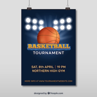 Poster of basketball tournament with spotlights and ball
