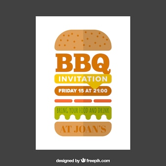 Poster for the bbq party in flat design