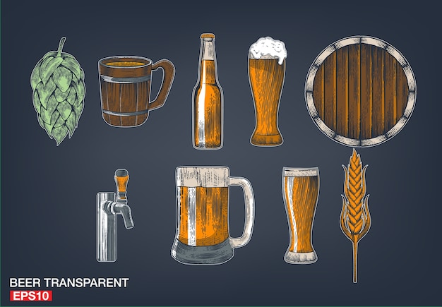 Poster beer set with tap, glass, bottle