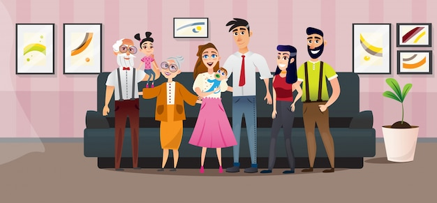 Poster big family four generations cartoon flat.