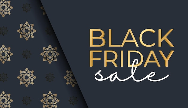 Poster for black friday sales dark blue with ancient golden ornament
