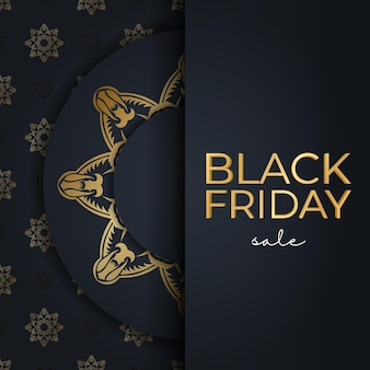 Poster for black friday sales dark blue with luxurious gold ornament
