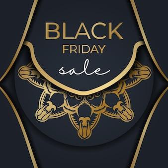 Poster for black friday sales dark blue with vintage golden ornament