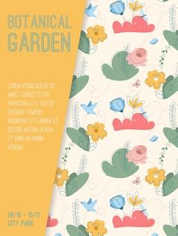 Poster of botanical garden at city park concept
