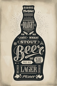 Poster bottle of beer with hand drawn lettering