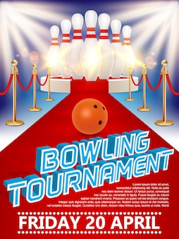 Poster of bowling ball, skittles, round podium with red carpet and lights.