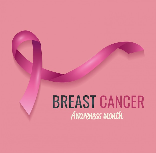 Poster breast cancer awareness month with ribbon