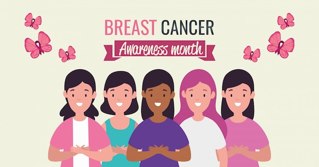 Poster breast cancer awareness month with women group