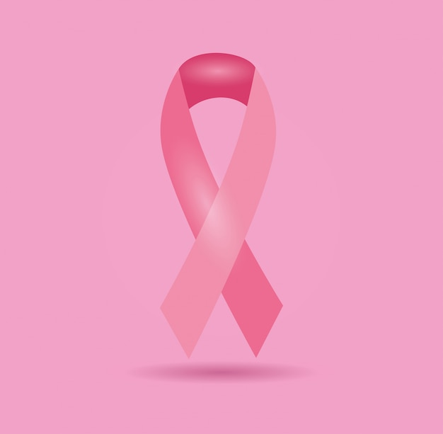Poster breast cancer with ribbon