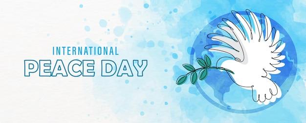 Рекламная кампания дня мира в одну линию и акварель в стиле фона