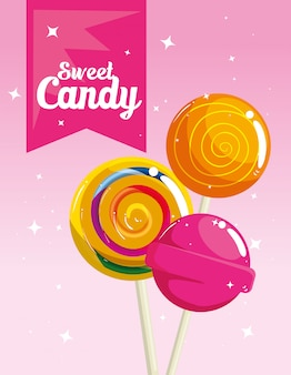 Poster of candy shop with lollipops