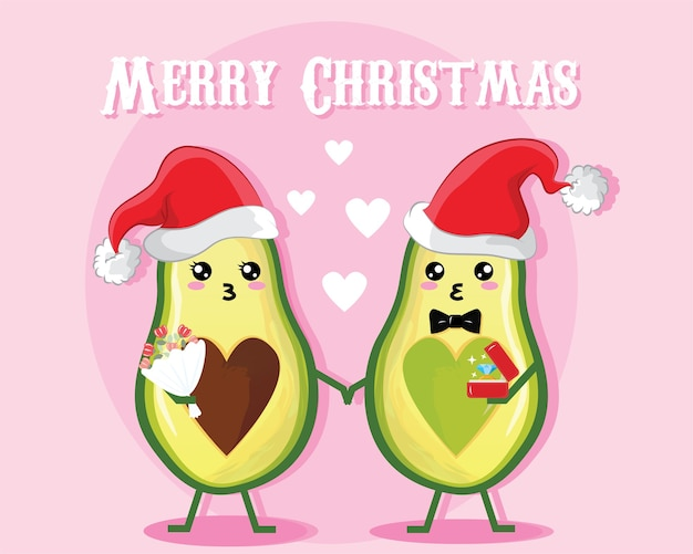 Poster of christmas day. couple cartoon avocado characters with hearts and love message.