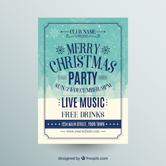 Poster for a christmas party with live music and free drinks Free Vector