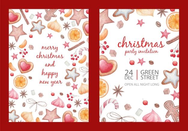 ポスタークリスマスセット、クリスマススパイスとグッズ、ロリポップ、一杯のコーヒー、柑橘類のスライス、クッキー、スターアニス、白い背景の水彩画のイラスト