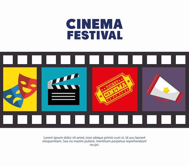 Poster cinema festival strip film icons movie