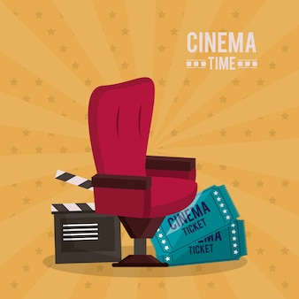 Poster of cinema time with clapperboard chair and tickets
