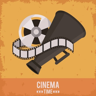 Poster of cinema time with film reel and director megaphone