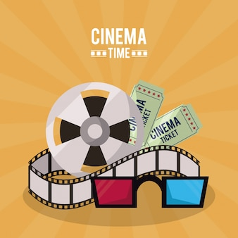 Poster of cinema time with film reel and tickets and 3d glasses