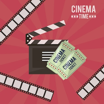Poster of cinema time with film tape and clapperboard and tickets