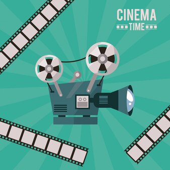 Poster of cinema time with movie projector and film tape