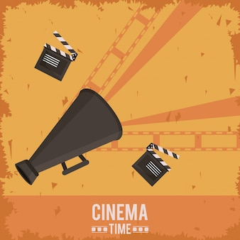 Poster of cinema with film tape and clapperboard and megaphone