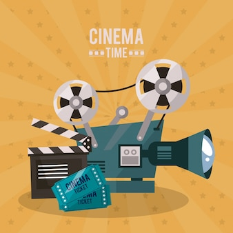 Poster of cinema with movie projector and clapperboard and tickets