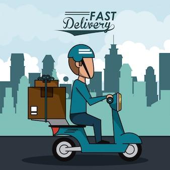 パッケージ付きの素早い配達の男のスクーターとポスター都市の風景