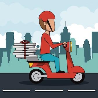 赤いスクーターの高速ピザの配達人とポスター都市の風景