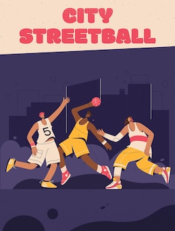 Poster of city streetball concept. basketball players playing at street playground.
