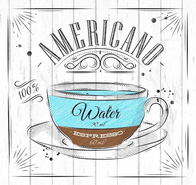 Poster coffee americano in vintage style drawing on wood background