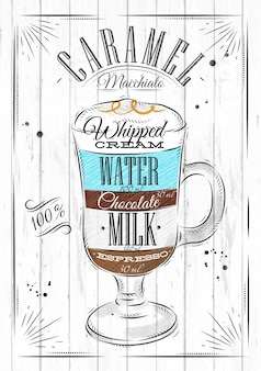Poster coffee caramel macchiato in vintage style drawing on wood background