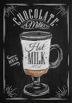 Poster coffee chocolate milk in vintage style drawing with chalk on the blackboard